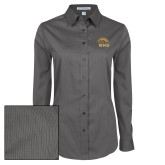 Ladies Grey Tonal Pattern Long Sleeve Shirt-WMU w/ Bronco Head