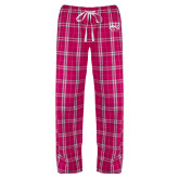 Ladies Dark Fuchsia/White Flannel Pajama Pant-W w/ Bronco