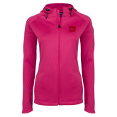 Ladies Tech Fleece Full Zip Hot Pink Hooded Jacket-W w/ Bronco