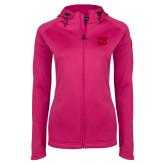 Ladies Tech Fleece Full Zip Hot Pink Hooded Jacket-W w/ Bronco