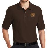 Brown Easycare Pique Polo-W w/ Bronco