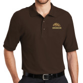 Brown Easycare Pique Polo-Broncos w/ Bronco Head