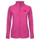 Ladies Fleece Full Zip Raspberry Jacket-W w/ Bronco