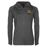 Ladies Sport Wick Stretch Full Zip Charcoal Jacket-Broncos w/ Bronco Head