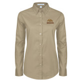 Ladies Khaki Twill Button Down Long Sleeve-Broncos w/ Bronco Head