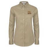 Ladies Khaki Twill Button Down Long Sleeve-WMU w/ Bronco Head