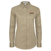 Ladies Khaki Twill Button Down Long Sleeve-WMU