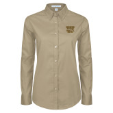 Ladies Khaki Twill Button Down Long Sleeve-W w/ Bronco