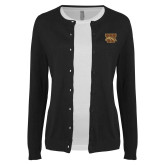 Ladies Black Cardigan-W w/ Bronco