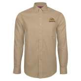 Red House Tan Long Sleeve Shirt-Broncos w/ Bronco Head