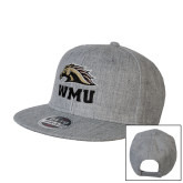 Heather Grey Wool Blend Flat Bill Snapback Hat-WMU w/ Bronco Head