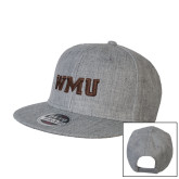 Heather Grey Wool Blend Flat Bill Snapback Hat-WMU