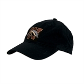Black Twill Unstructured Low Profile Hat-W w/Bronco Head