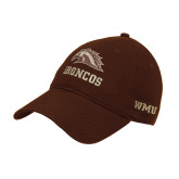 Brown Twill Unstructured Low Profile Hat-Broncos w/ Bronco Head