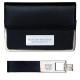 Business Card Case and Key Ring Set Black-Western Michigan University Engraved