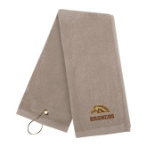 Stone Golf Towel-Broncos w/ Bronco Head