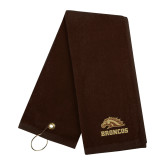 Brown Golf Towel-Broncos w/ Bronco Head