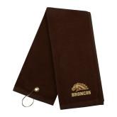 Brown Golf Towel-Broncos w/ Bronco Head