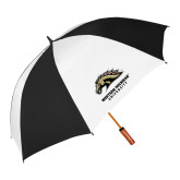 62 Inch Black/White Umbrella-Western Michigan University w/ Bronco Head