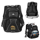 High Sierra Swerve Black Compu Backpack-WMU w/ Bronco Head