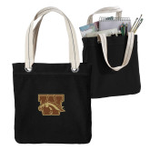 Allie Black Canvas Tote-W w/ Bronco