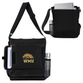 Impact Vertical Black Computer Messenger Bag-WMU w/ Bronco Head