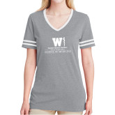 Ladies Grey Heather/White Tri Blend Varsity Tee-Vertical Logo