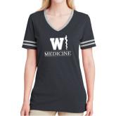 Ladies Black Heather/Grey Tri Blend Varsity Tee-W Medicine