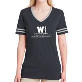 Ladies Black Heather/Grey Tri Blend Varsity Tee-Vertical Logo