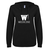 ENZA Ladies Black V Notch Raw Edge Fleece Hoodie-W Medicine
