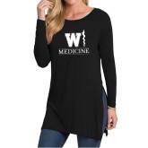 Ladies Black Side Slit Tunic-W Medicine