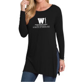Ladies Black Side Slit Tunic-Vertical Logo