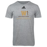 Adidas Sport Grey Logo T Shirt-Vertical Logo