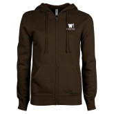 ENZA Ladies Brown Fleece Full Zip Hoodie-W Medicine