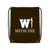 Brown Drawstring Backpack-W Medicine