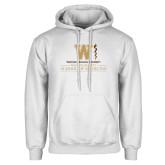 White Fleece Hoodie-Vertical Logo