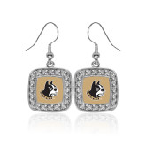 Crystal Studded Square Pendant Silver Dangle Earrings-Terrier