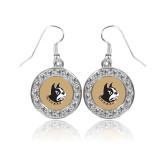 Crystal Studded Round Pendant Silver Dangle Earrings-Terrier