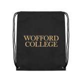 Nylon Black Drawstring Backpack-Wofford College Stacked