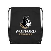 Nylon Black Drawstring Backpack-Wofford Terriers w/ Terrier
