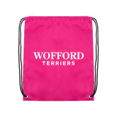 Nylon Pink Drawstring Backpack-Wofford Terriers Word Mark