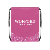 Nylon Pink Bubble Patterned Drawstring Backpack-Wofford Terriers Word Mark