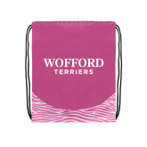 Nylon Zebra Pink/White Patterned Drawstring Backpack-Wofford Terriers Word Mark