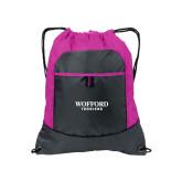 Nylon Pink Raspberry/Deep Smoke Pocket Drawstring Backpack-Wofford Terriers Word Mark