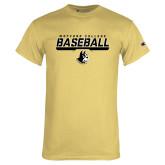 Champion Vegas Gold T Shirt-Wofford College Baseball Stencil w/Bar