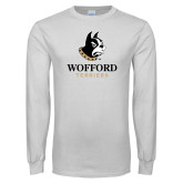 White Long Sleeve T Shirt-Wofford Terriers w/ Terrier