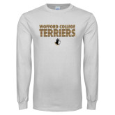 White Long Sleeve T Shirt-Wofford College Terriers Stacked