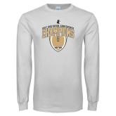 White Long Sleeve T Shirt-2017 Football Champions Vertical Football