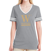 Ladies Grey Heather/White Tri Blend Varsity Tee-W Wofford
