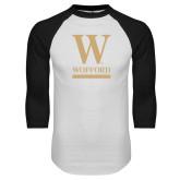 White/Black Raglan Baseball T-Shirt-W Wofford